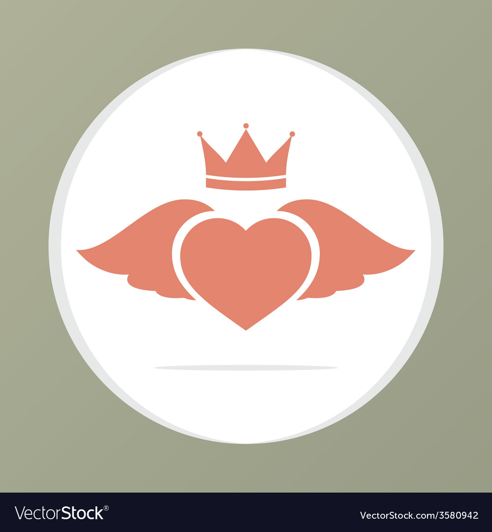 Heart wing with crown vector | Price: 1 Credit (USD $1)