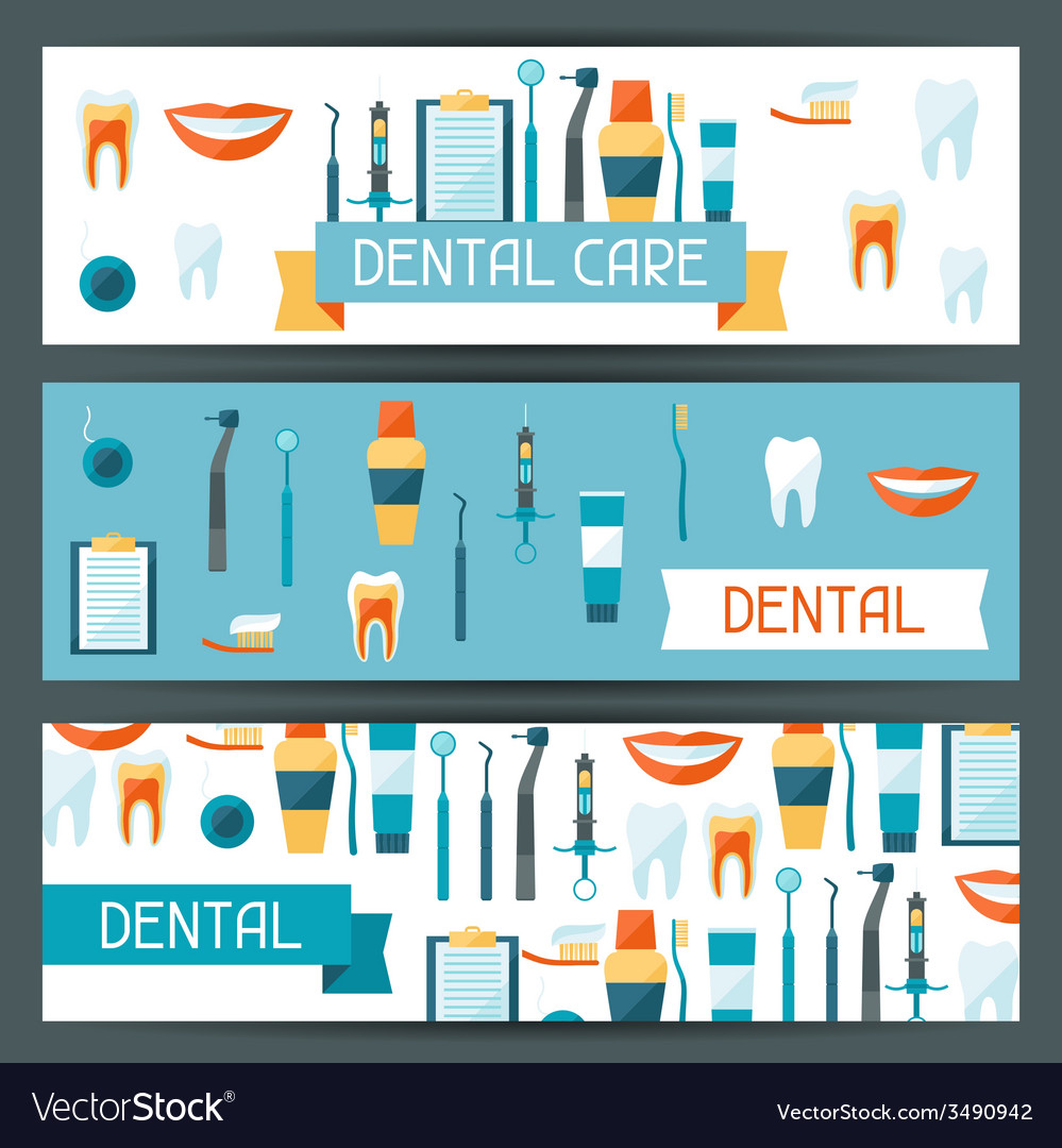 Medical banners design with dental equipment icons vector | Price: 1 Credit (USD $1)