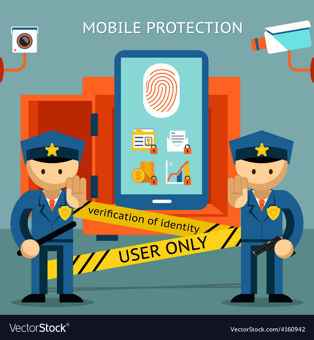 Mobile phone protection financial security and vector | Price: 1 Credit (USD $1)