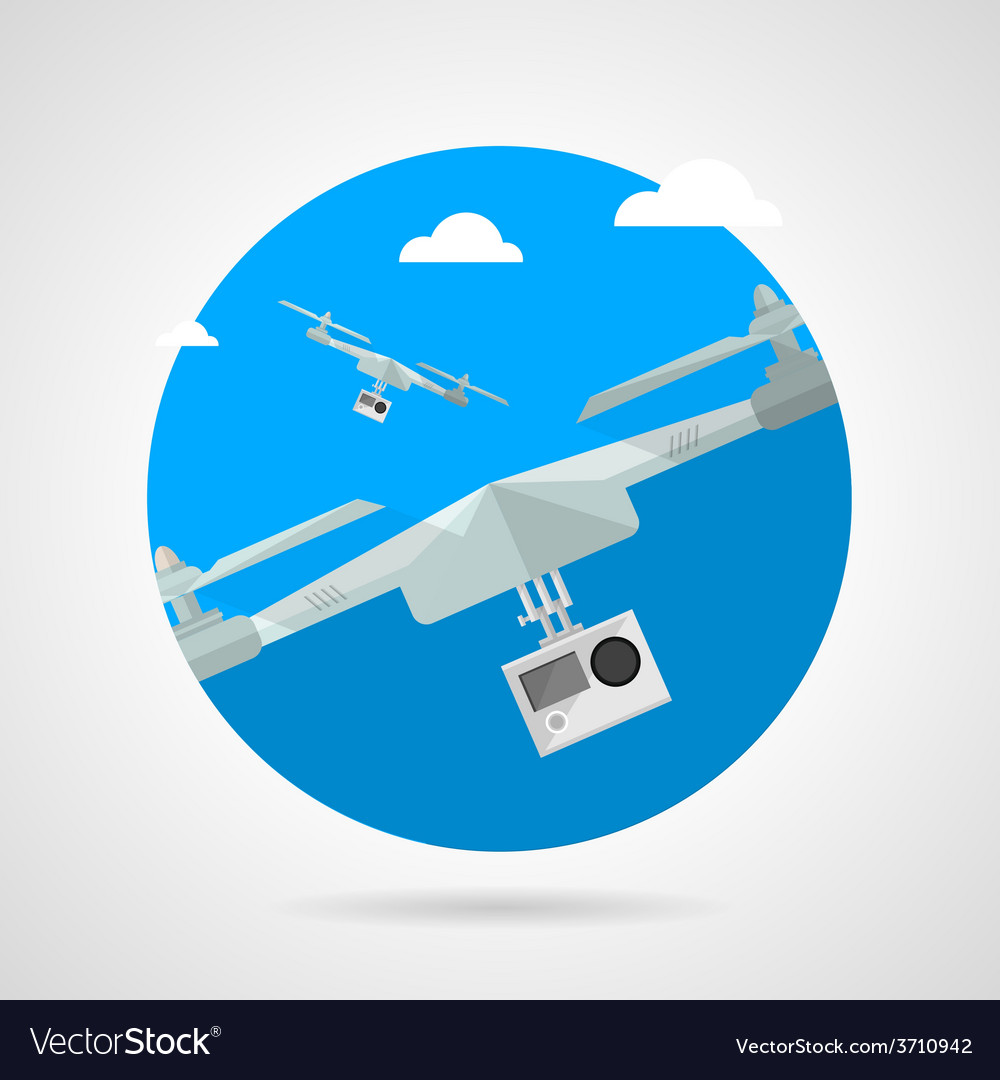 Quadrocopter with camera flat icon vector | Price: 1 Credit (USD $1)