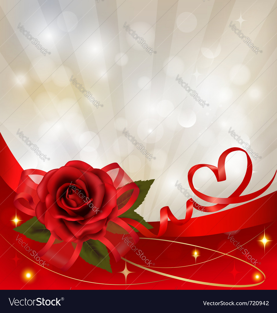 Red rose with gift red bow vector | Price: 3 Credit (USD $3)