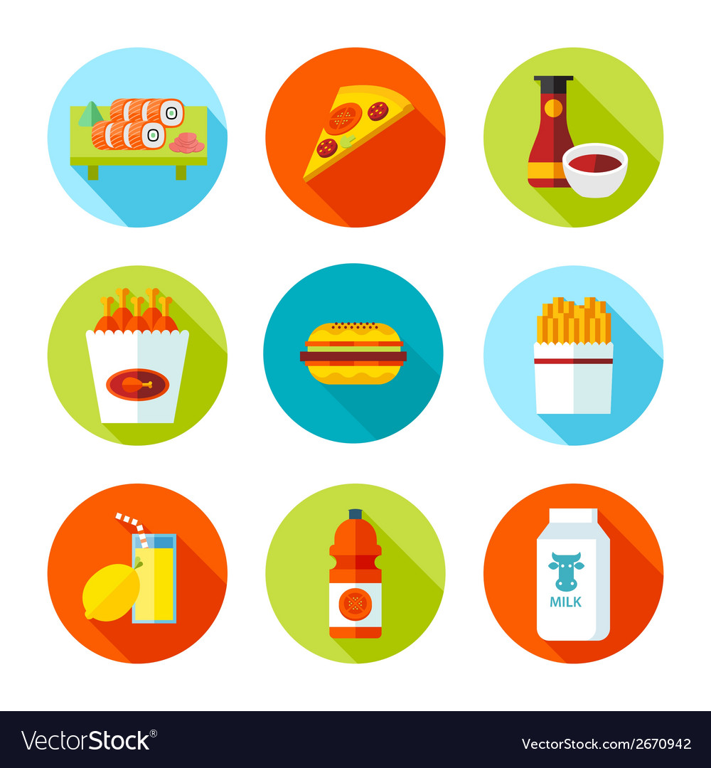 Set of flat grocery and food icons vector | Price: 1 Credit (USD $1)