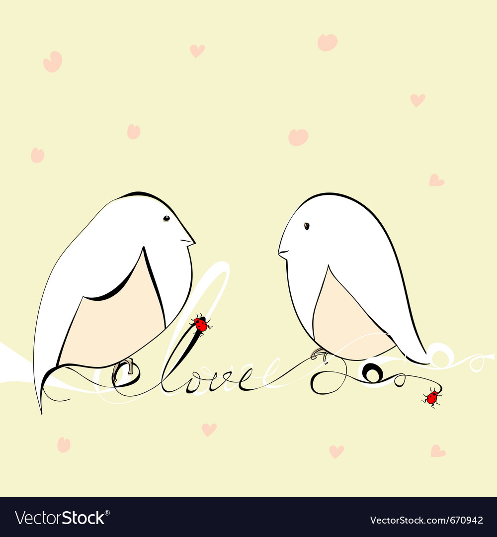Two bird with inscription love vector | Price: 1 Credit (USD $1)