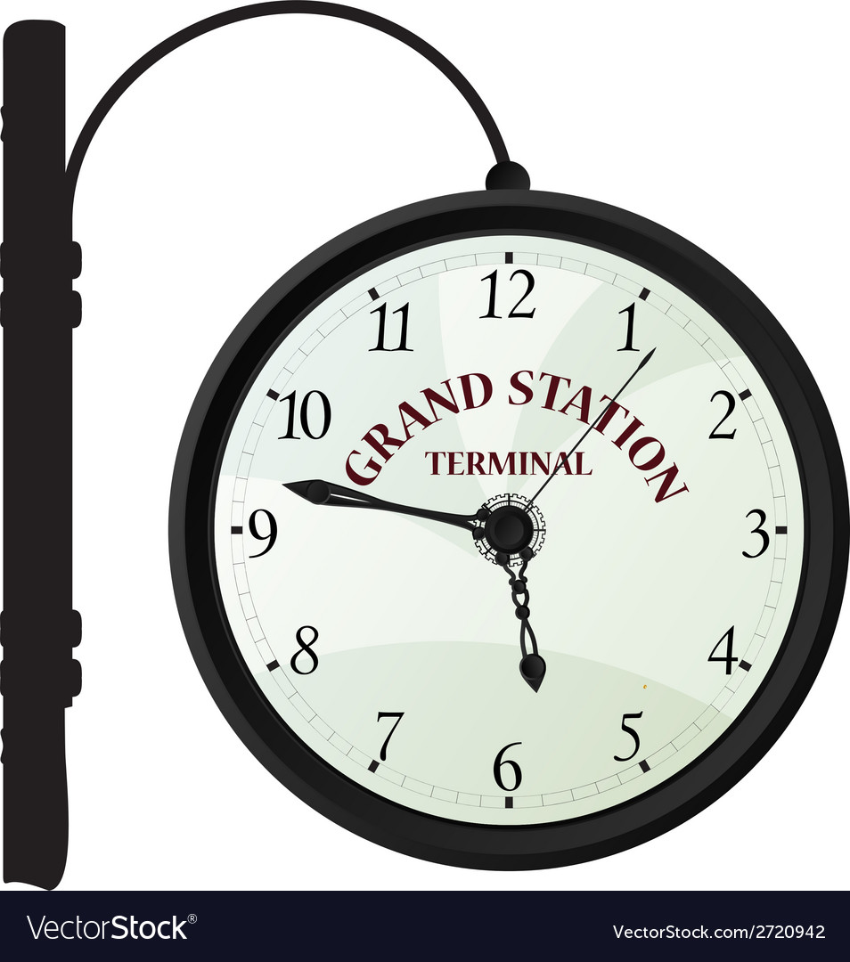Vintage railway station clock vector | Price: 1 Credit (USD $1)