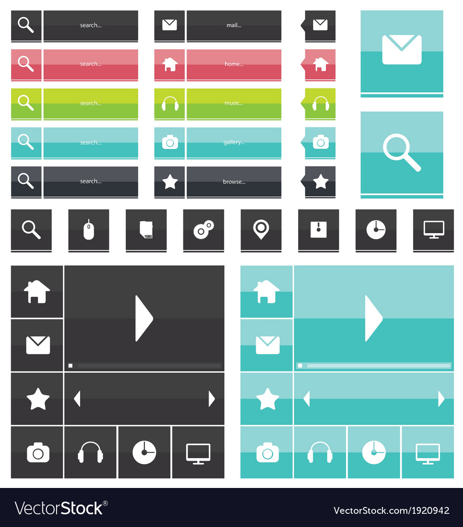 Web elements and icons flat design vector | Price: 1 Credit (USD $1)