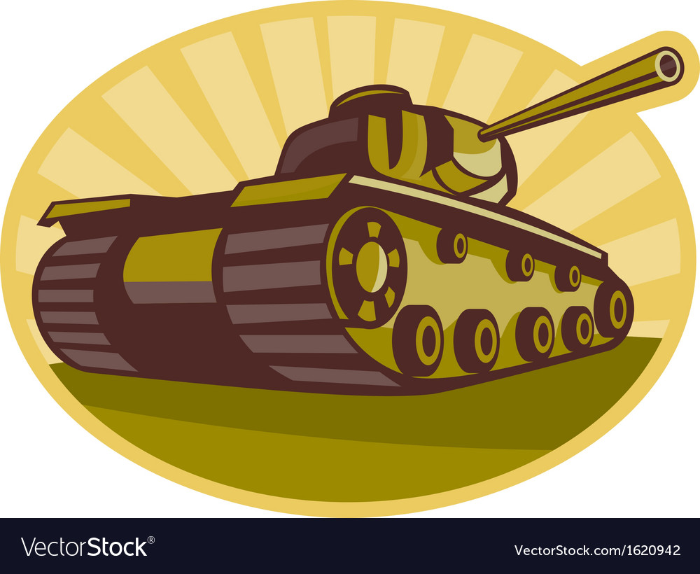 World war two battle tank aiming cannon vector | Price: 1 Credit (USD $1)