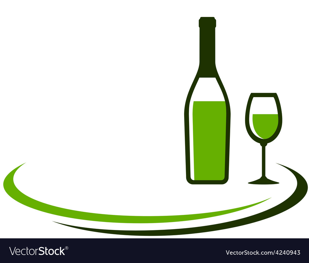 Background with white wine bottle and glass vector | Price: 1 Credit (USD $1)