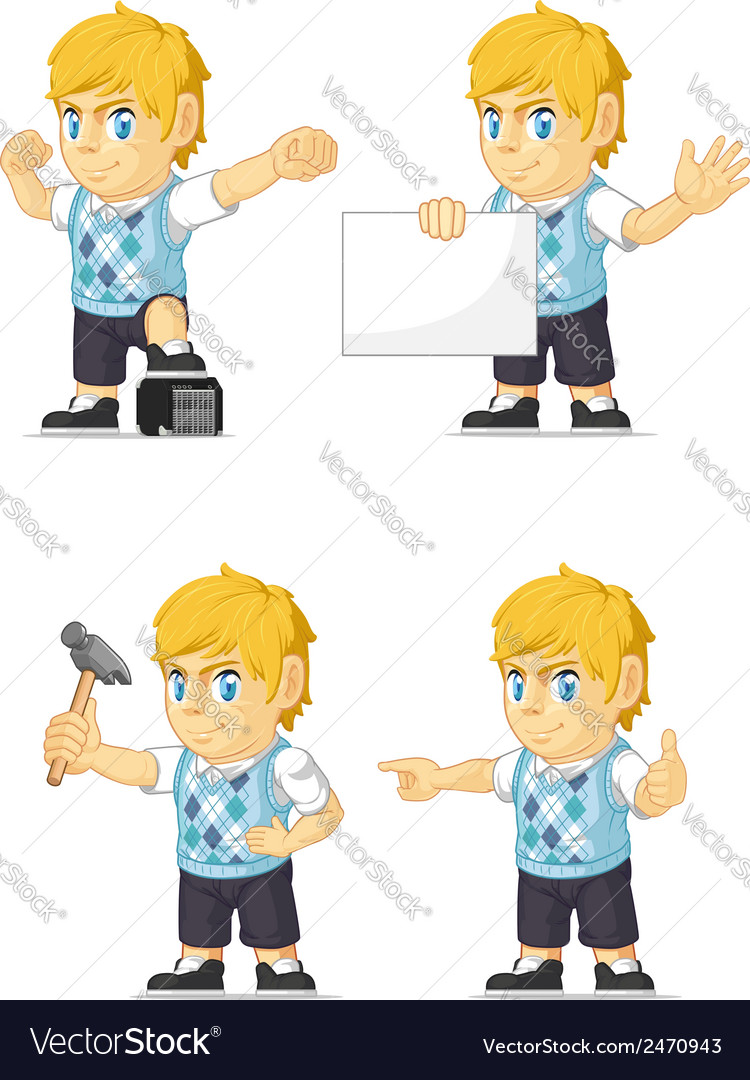 Blonde rich boy customizable mascot 17 vector | Price: 1 Credit (USD $1)