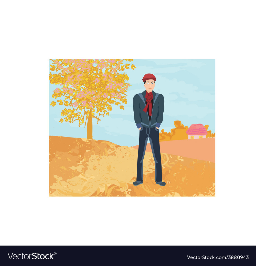 Handsome young man walking in autumn day vector | Price: 1 Credit (USD $1)
