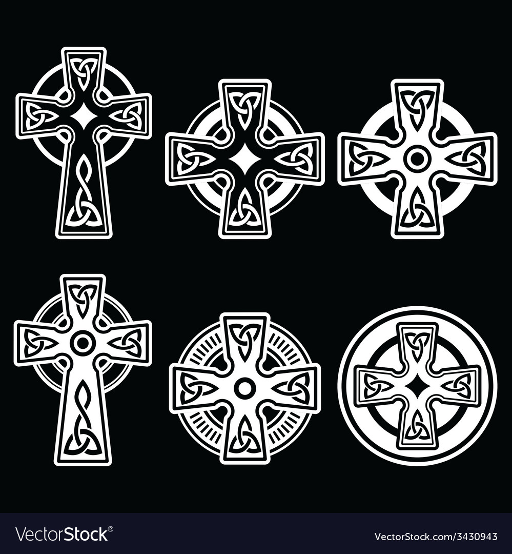 Irish scottish celtic white cross on black vector | Price: 1 Credit (USD $1)