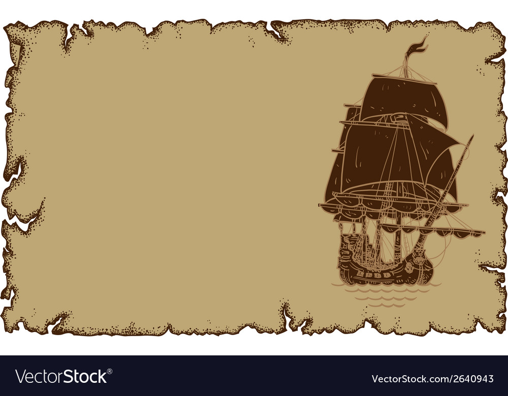 Marine theme old parchment with sailboat vector | Price: 1 Credit (USD $1)