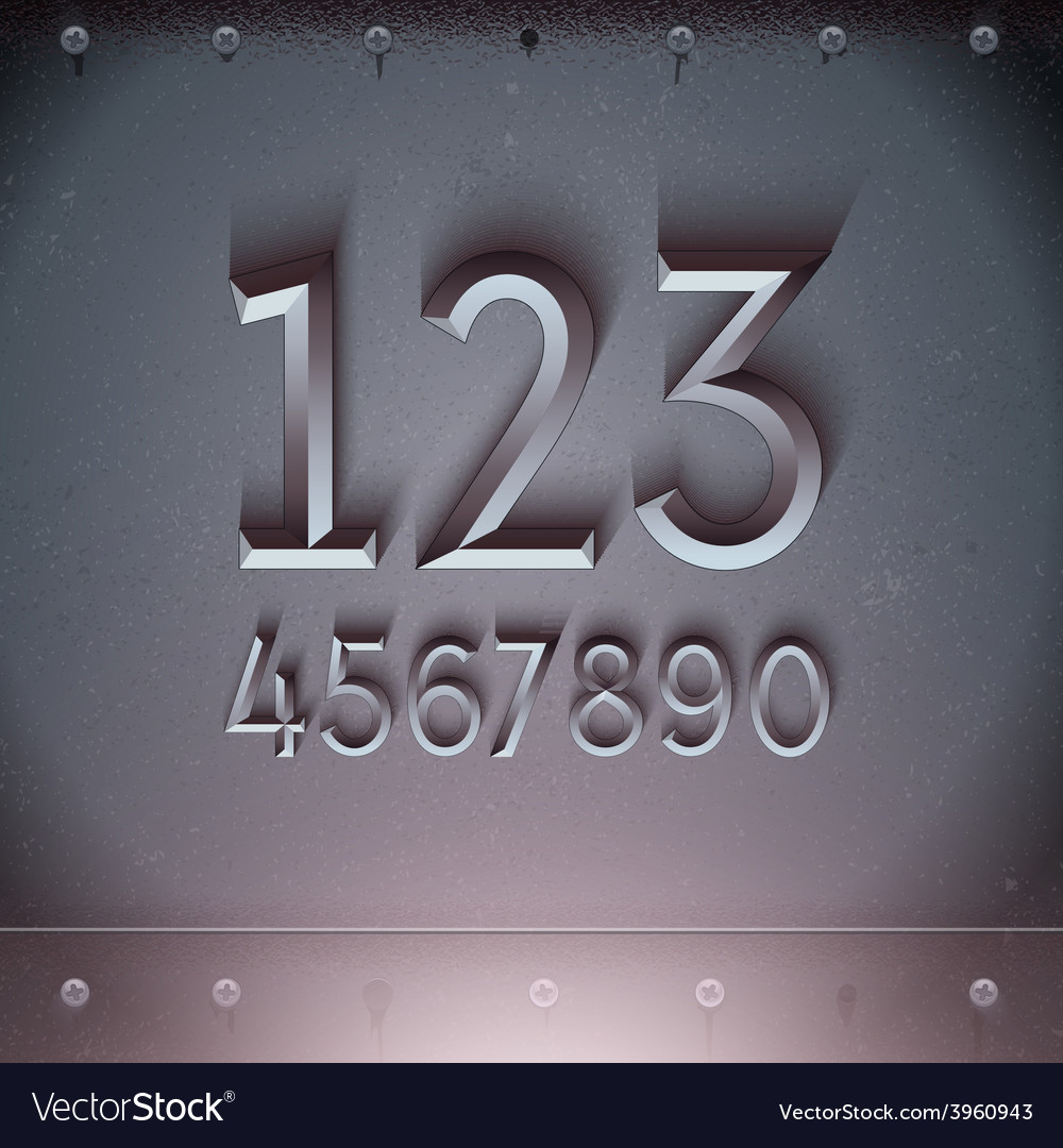 Metal embossed numbers vector | Price: 3 Credit (USD $3)