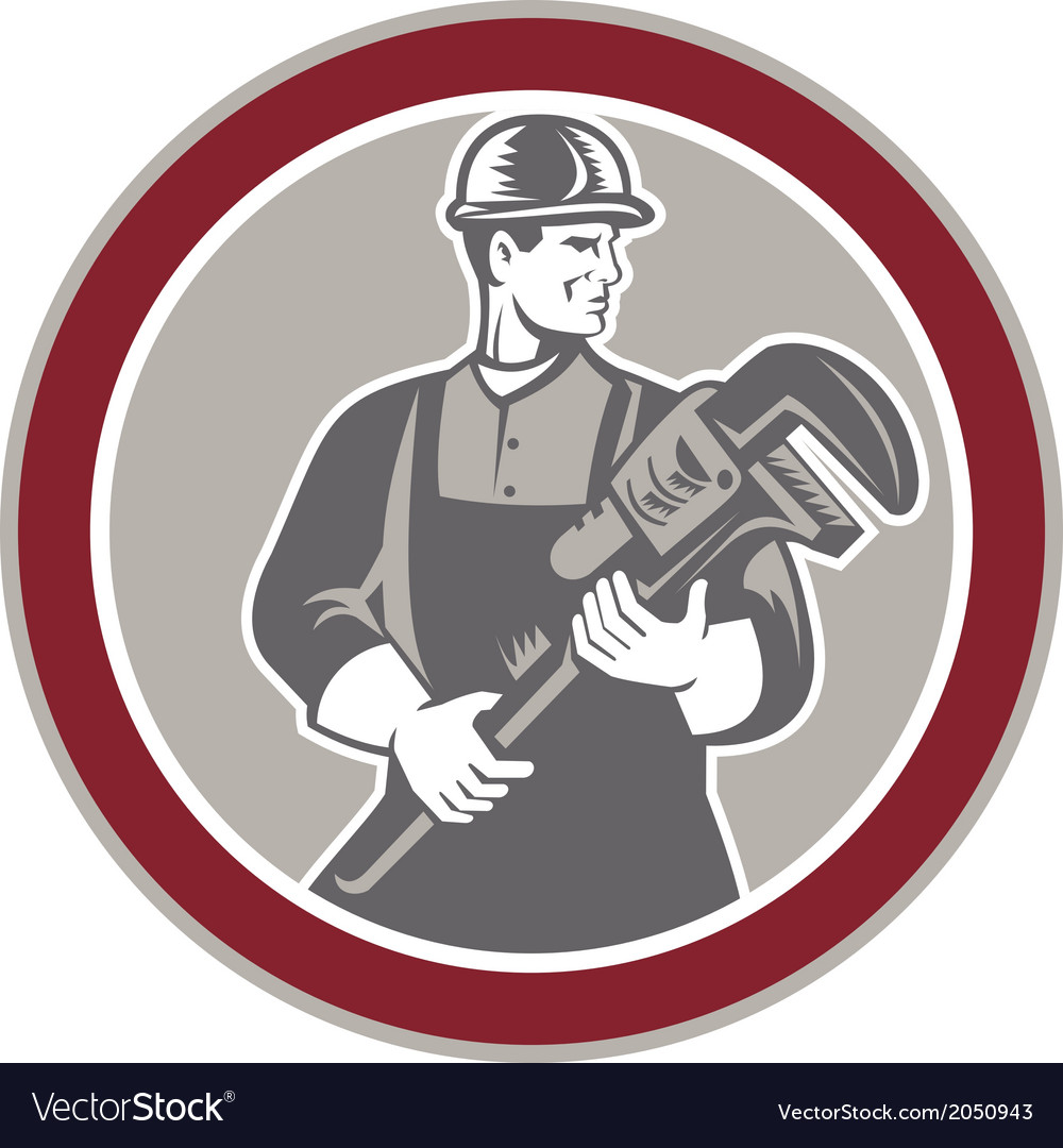 Plumber holding giant wrench woodcut circle vector | Price: 1 Credit (USD $1)