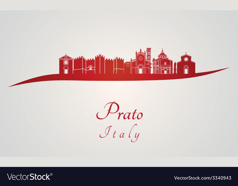 Prato skyline in red vector | Price: 1 Credit (USD $1)