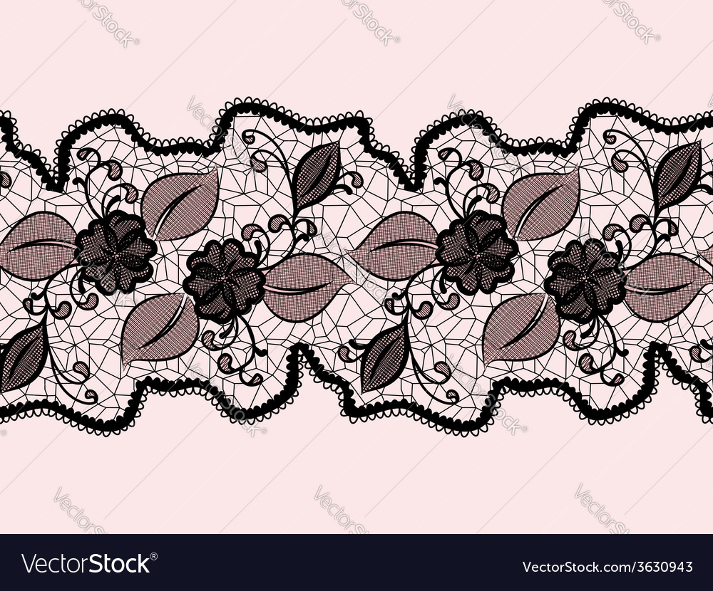 Seamless lace ribbon with abstract floral pattern vector | Price: 1 Credit (USD $1)