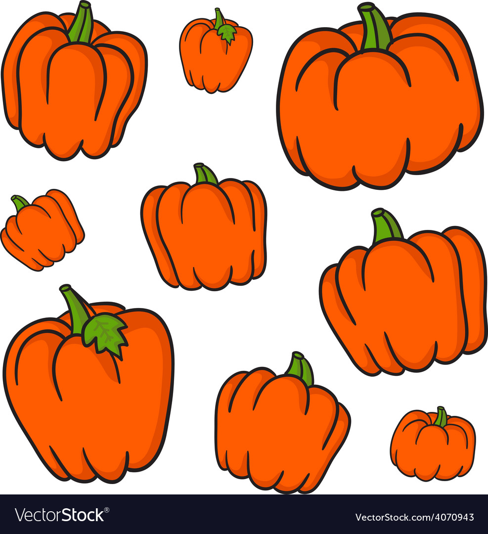 Set of retro pumpkins vector | Price: 1 Credit (USD $1)