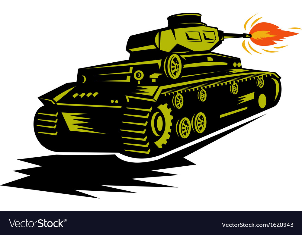 World war two battle tank firing cannon vector | Price: 1 Credit (USD $1)