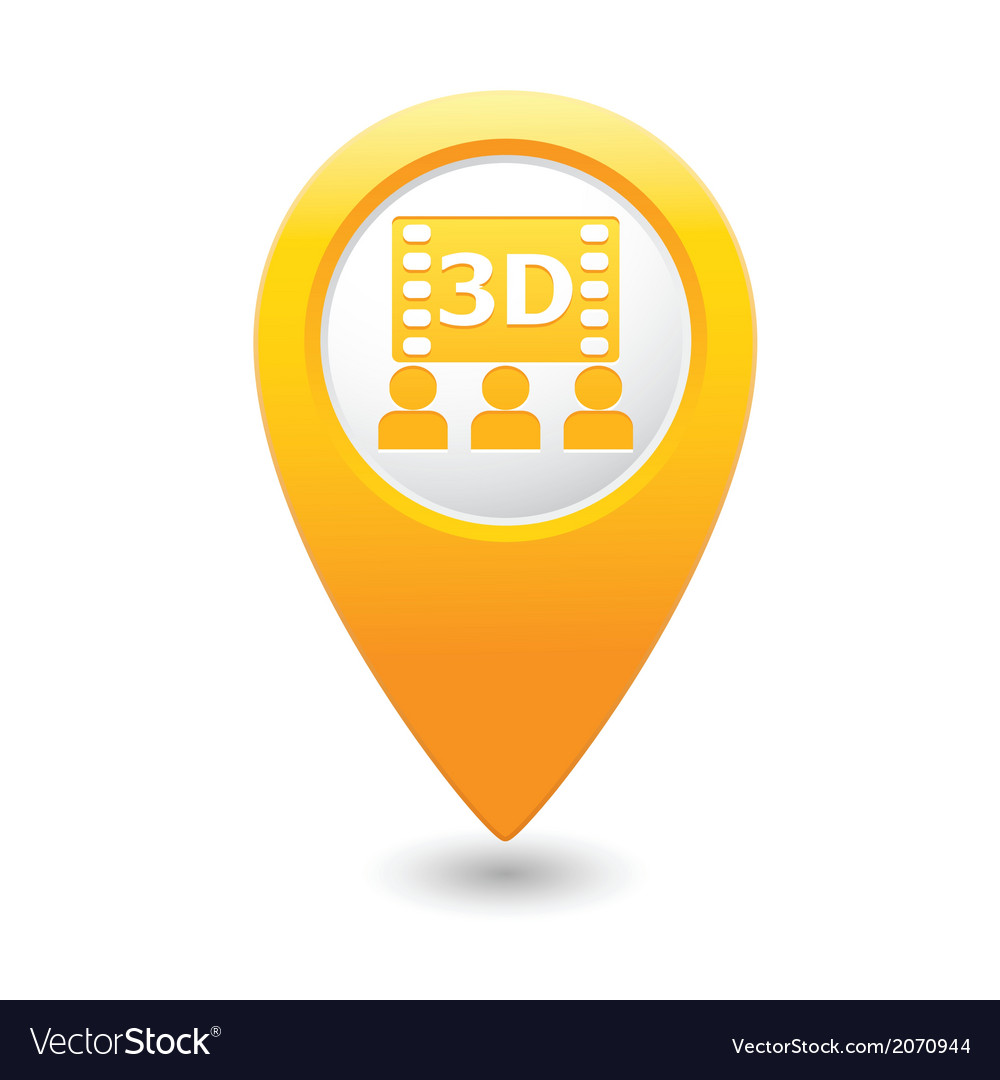 3d cinema icon yellow pointer vector | Price: 1 Credit (USD $1)