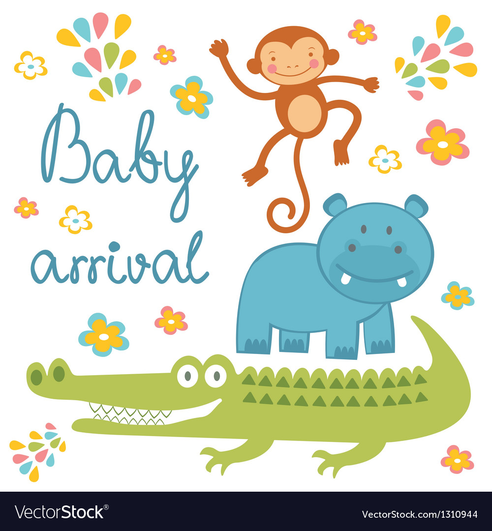 Baby arrival jungle animals vector | Price: 1 Credit (USD $1)