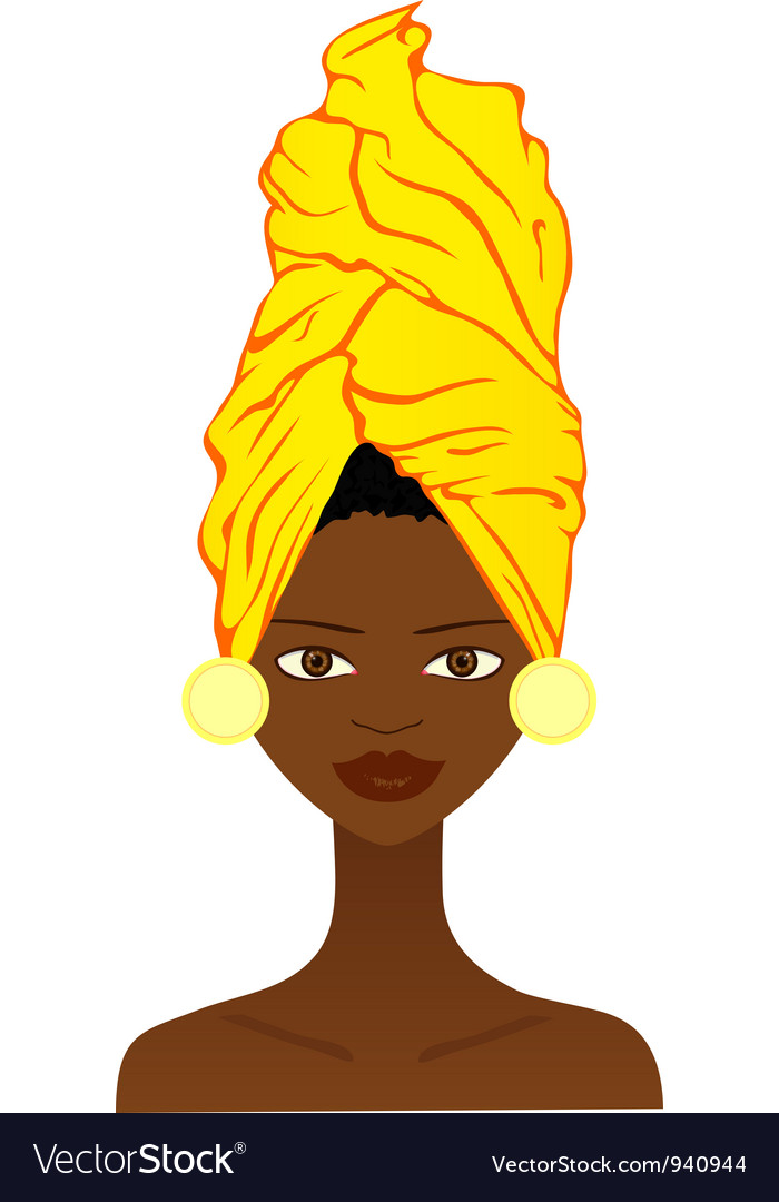 Beautiful african woman with traditional headgear vector | Price: 1 Credit (USD $1)