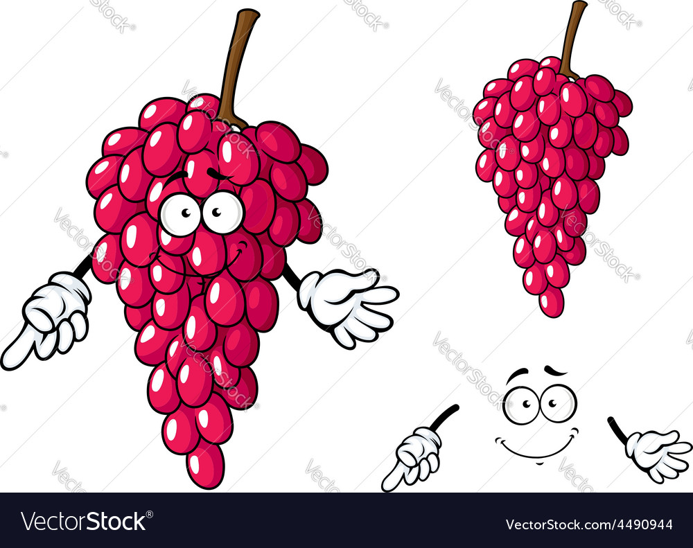 Cartoon bunch of red grape fruit character vector | Price: 1 Credit (USD $1)