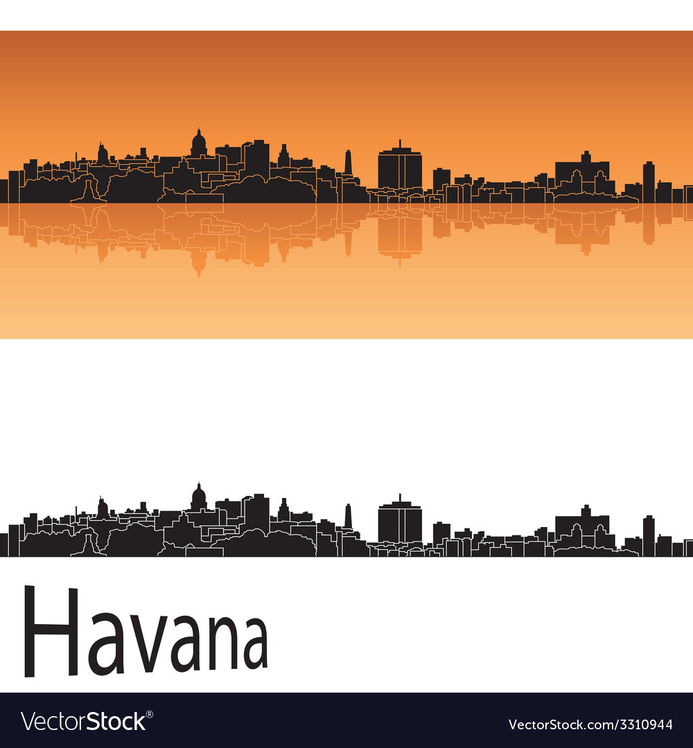 Havana skyline in orange background vector | Price: 1 Credit (USD $1)