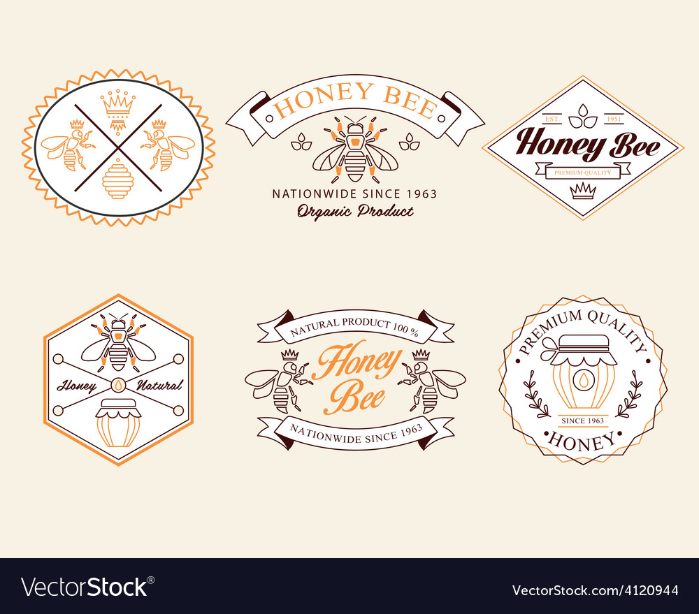 Honey and bees badges labels for any use vector | Price: 1 Credit (USD $1)