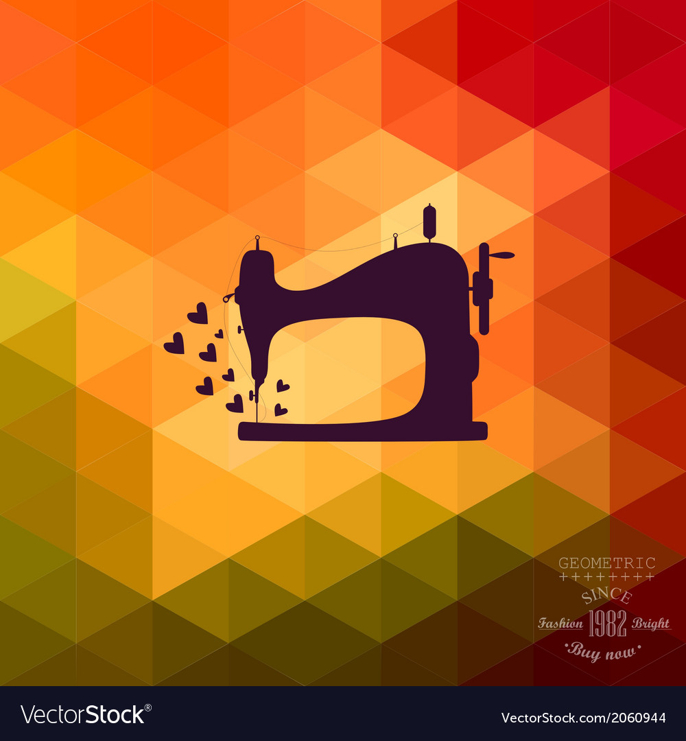 Old sewing machine on hipster background made of vector | Price: 1 Credit (USD $1)