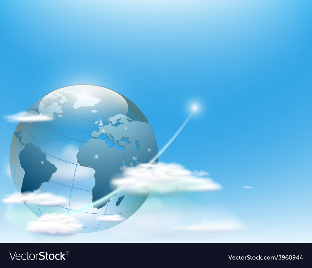Planet earth in the clouds against the sky vector