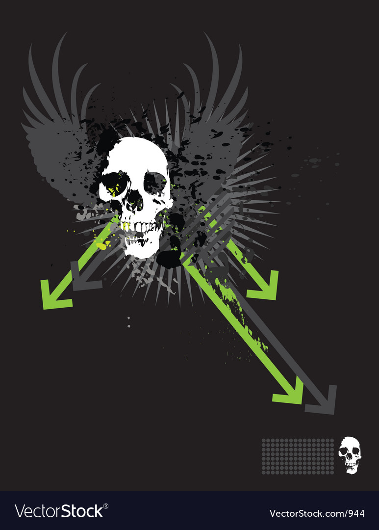 Skull grunge arrows vector | Price: 1 Credit (USD $1)