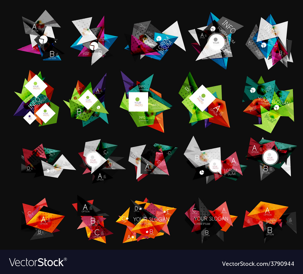 Triangular infographics templates vector | Price: 1 Credit (USD $1)