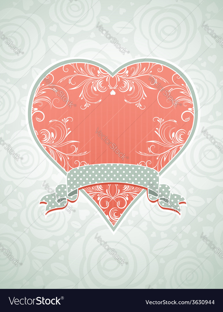 Valentine lovely pink heart with grey ribbon vector | Price: 1 Credit (USD $1)