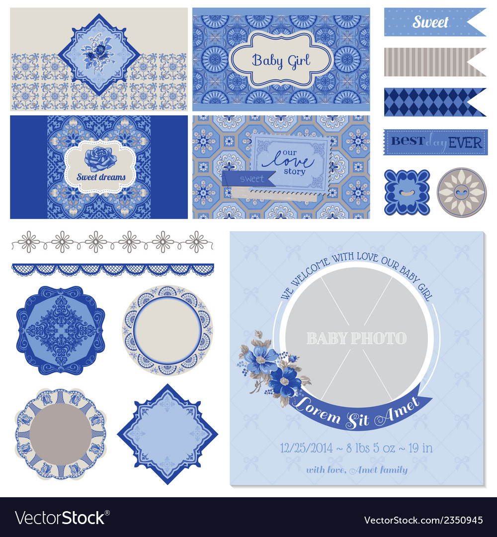 Baby shower flower party set vector | Price: 3 Credit (USD $3)