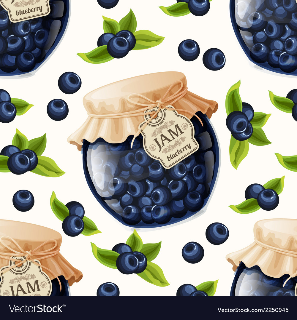 Blueberry jam seamless pattern vector | Price: 1 Credit (USD $1)