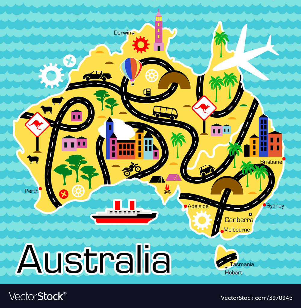 Cartoon map of australia vector | Price: 1 Credit (USD $1)