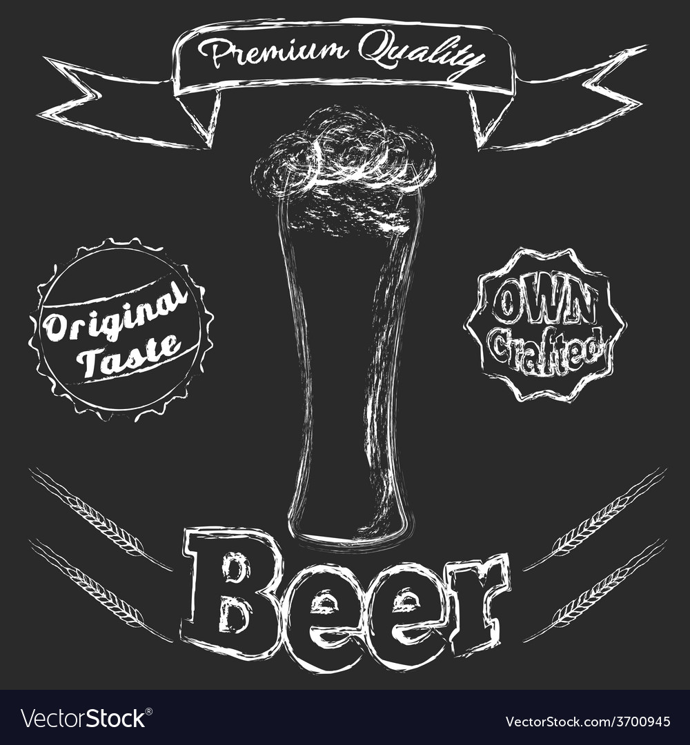 Chalk glass of beer vector | Price: 1 Credit (USD $1)