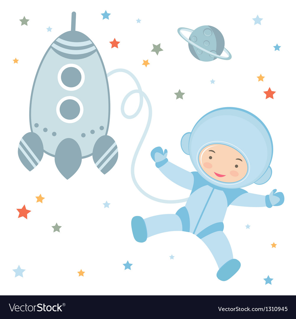 Cosmonaut and rocket vector | Price: 1 Credit (USD $1)