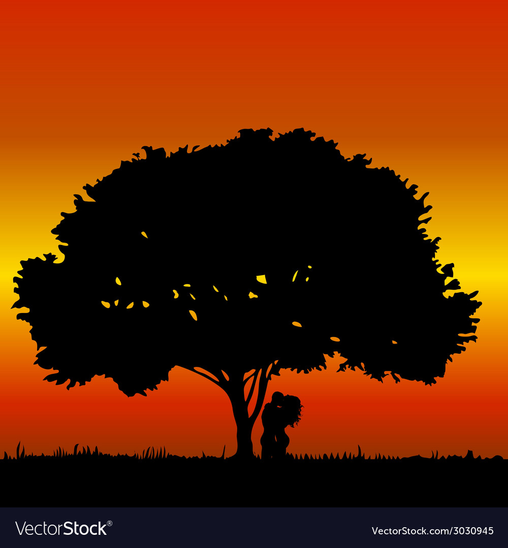 Couple kissing under a tree vector | Price: 1 Credit (USD $1)