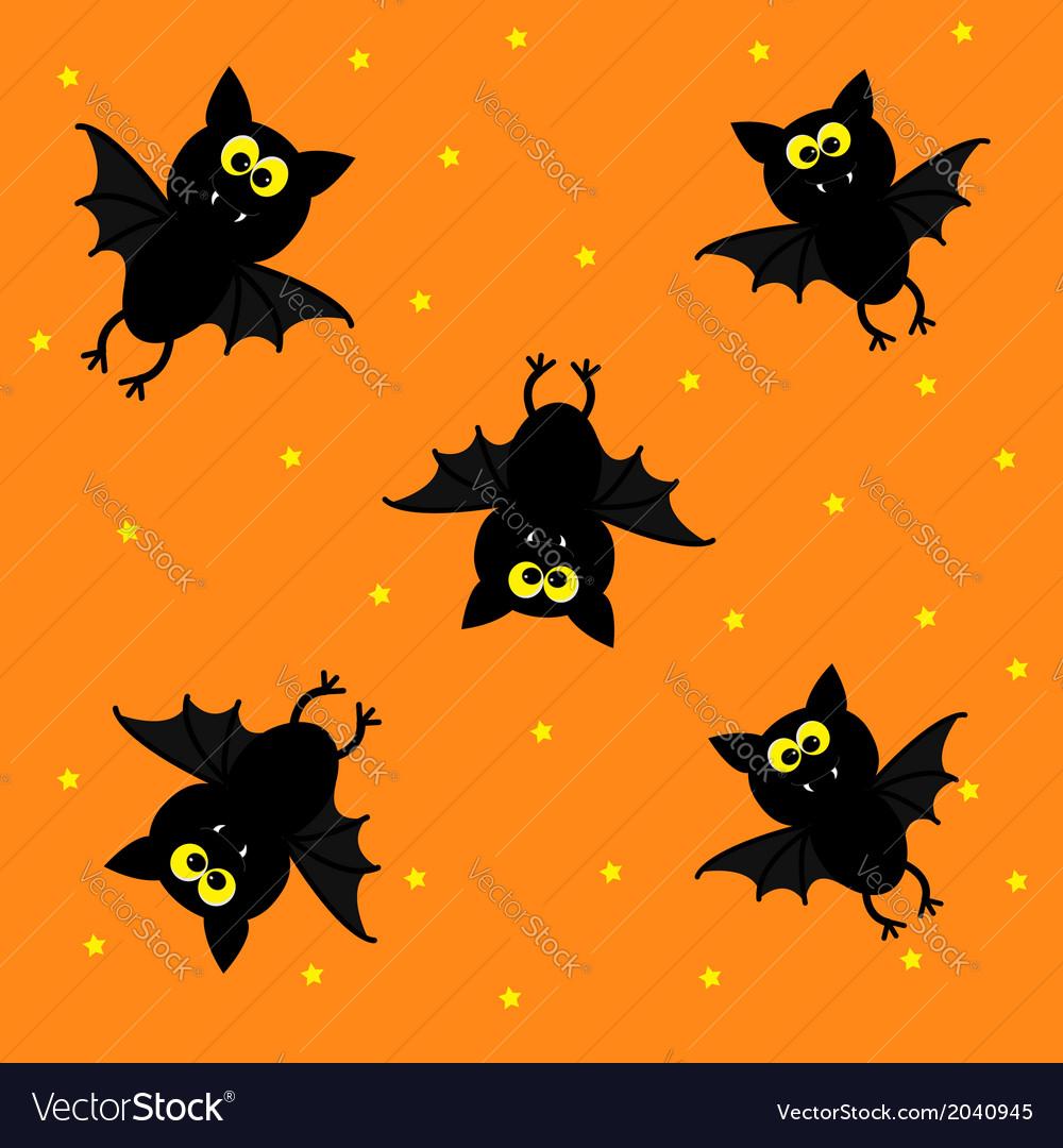 Cute bats on orange background happy halloween vector | Price: 1 Credit (USD $1)