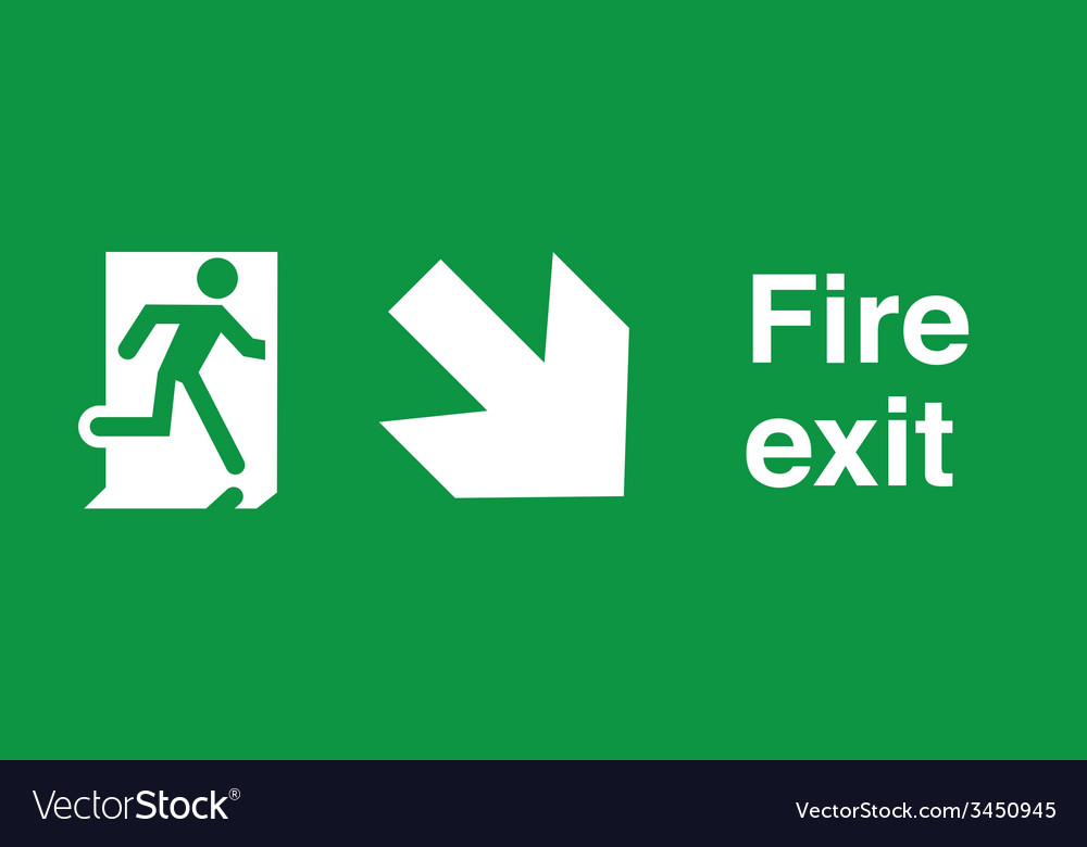Fire exit safety sign vector   Price: 1 Credit (USD $1)
