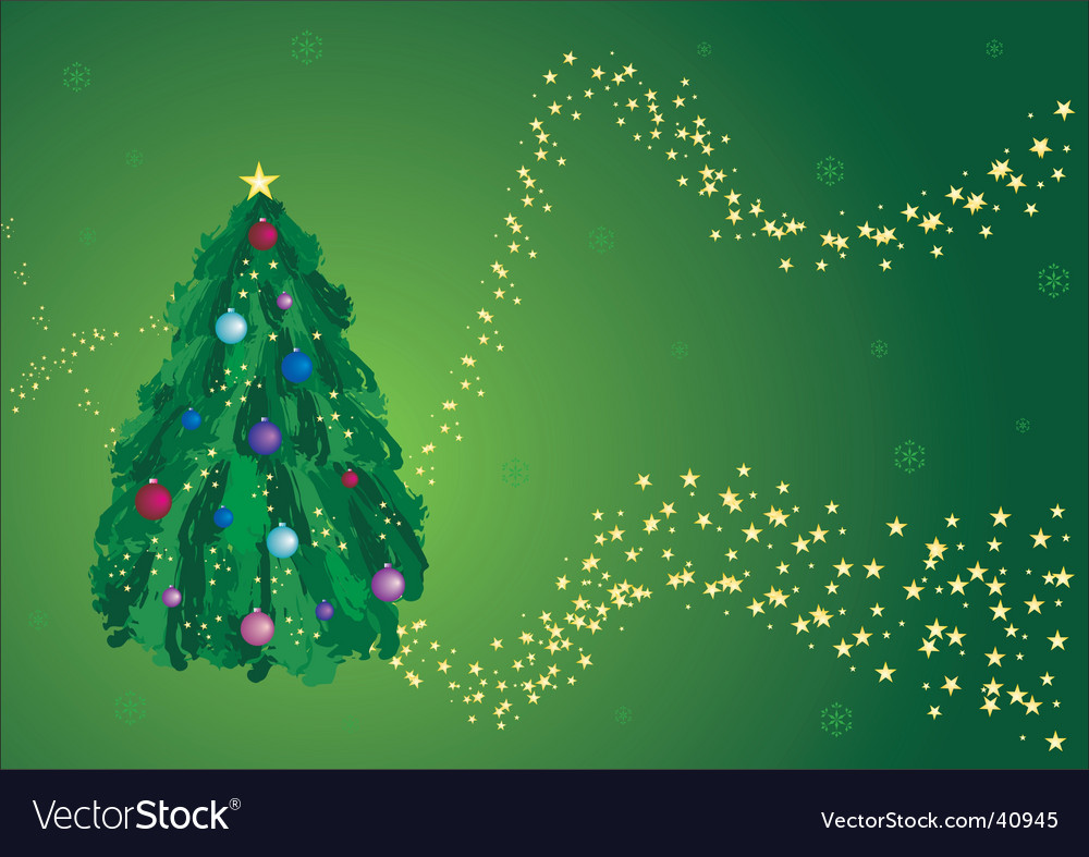 Green christmas tree greeting card vector | Price: 1 Credit (USD $1)