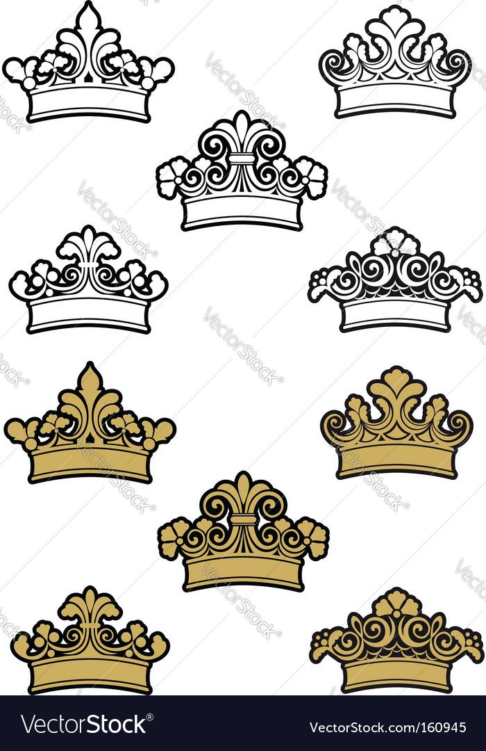 Heraldic crowns vector | Price: 1 Credit (USD $1)
