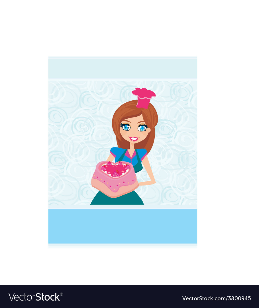 Housewife serving cake vector | Price: 1 Credit (USD $1)