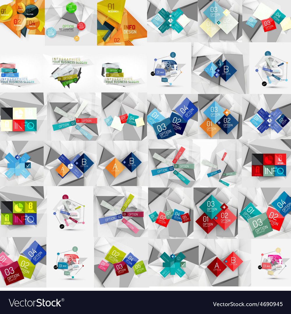 Mega collection of geometric paper style banners vector | Price: 1 Credit (USD $1)