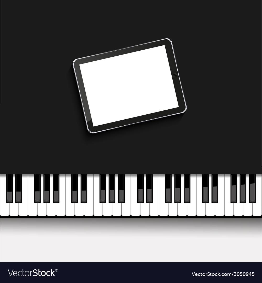 Modern computer tablet on piano vector | Price: 1 Credit (USD $1)