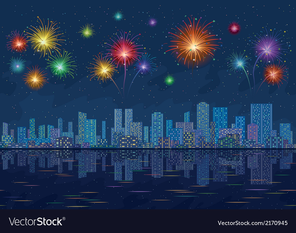 Night city landscape with fireworks seamless vector | Price: 1 Credit (USD $1)