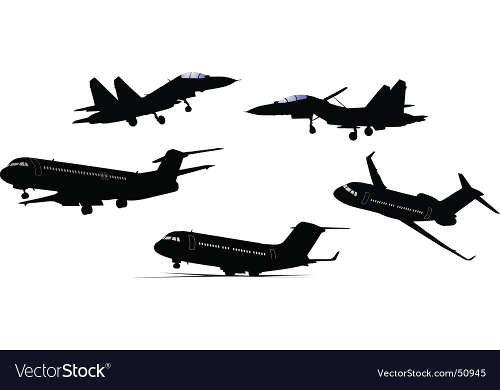 Plane silhouettes vector | Price: 1 Credit (USD $1)