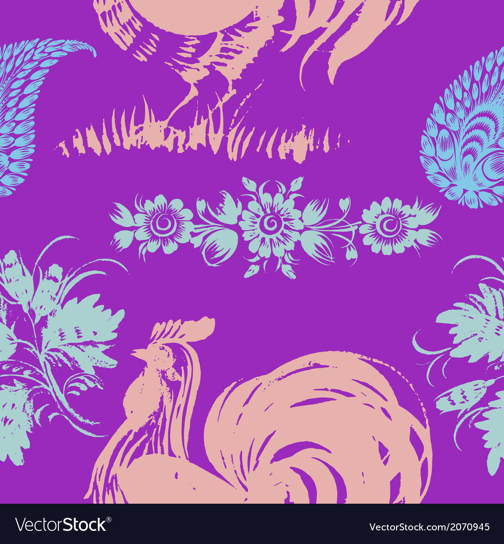 Seamless pattern with motive of rooster vector | Price: 1 Credit (USD $1)
