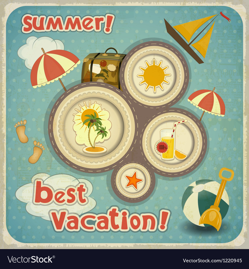 Summer vacation card in vintage style vector | Price: 3 Credit (USD $3)