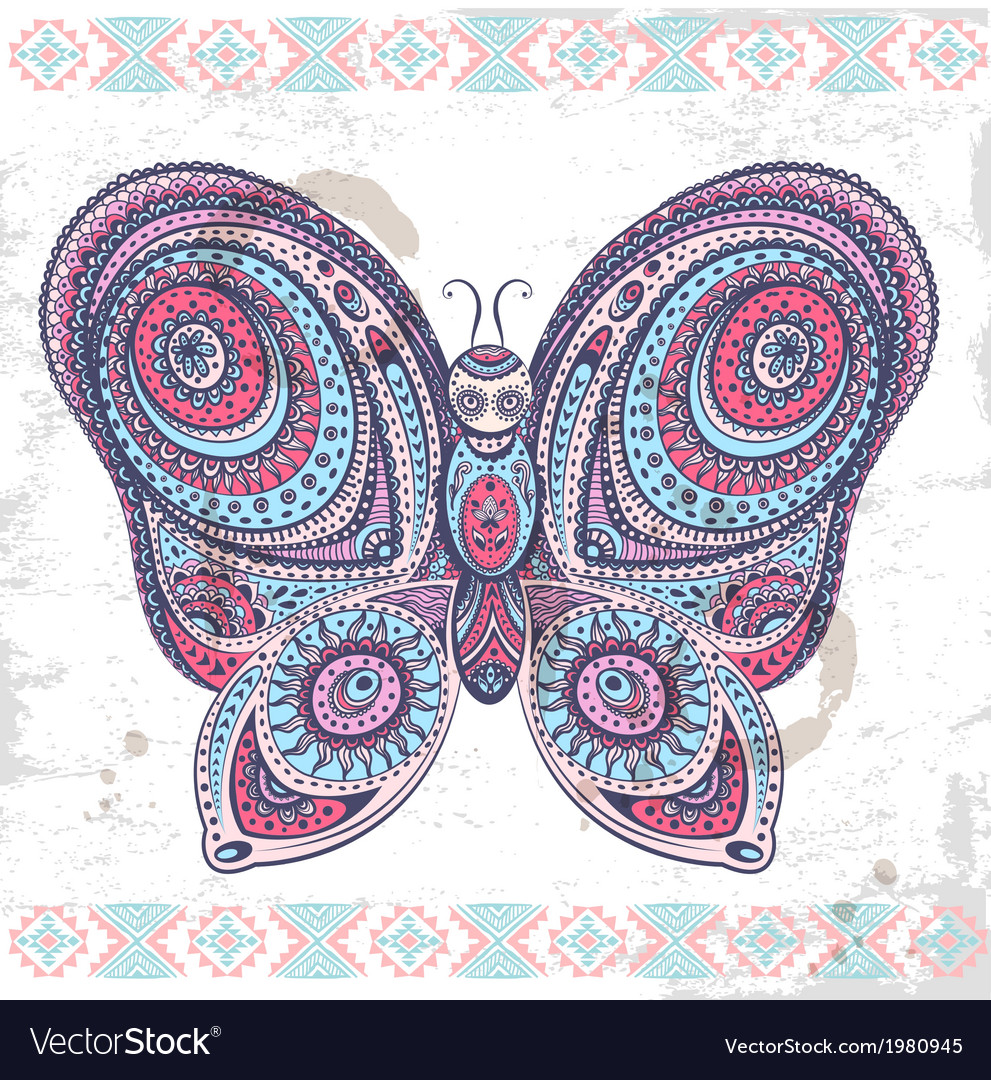 Vintage ethnic butterfly vector | Price: 1 Credit (USD $1)